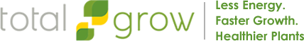 TotalGrow logo, Less Energy. Faster Growth. Healthier Plants.